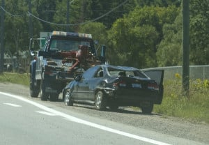 Picture of tow truck after auto accident