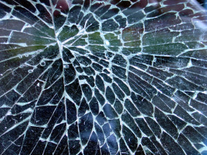Photo of a cracked windshield after auto accident