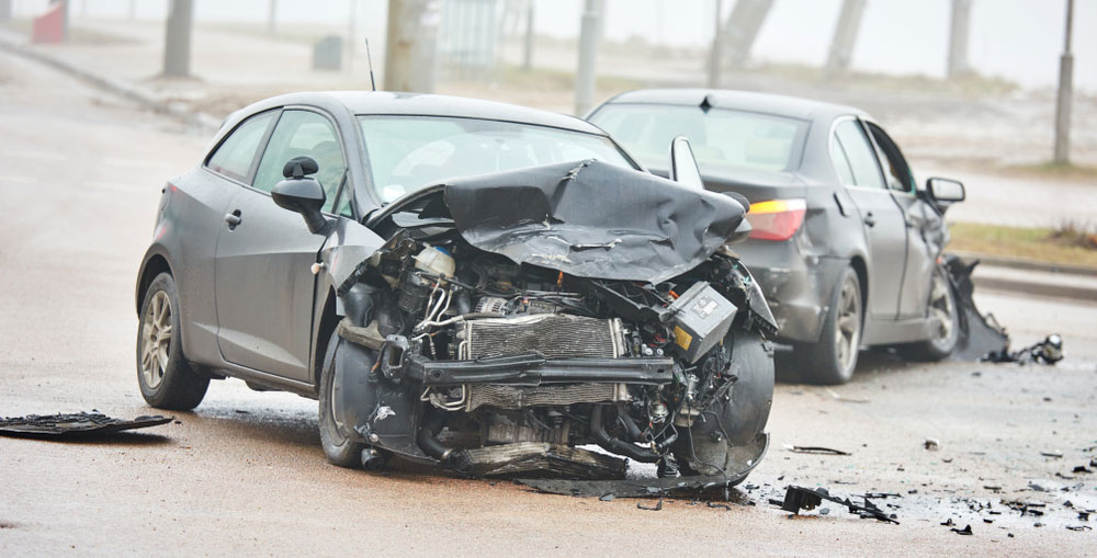 A car that has been totaled in a car crash.